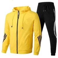mens suit 2021 new high quality cotton training suit autumnwinter new fashion sportswear black red yellow gray and white