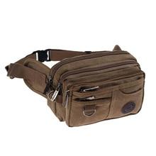 Haute qualité décontracté toile taille Packs sac à main hommes sac Portable Vintage hommes et femmes taille sacs voyage ceinture portefeuilles livraison gratuite