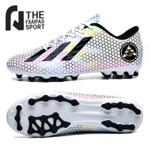 Size 32-45 Men's Soccer Shoes Teenager Breathable Soft Sneakers Kids Grass Training Sports Shoes FG