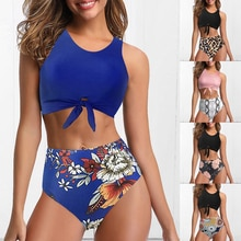 Maillot de bain pour femme deux pièces maillot de bain noeud haut gilet Bikini fleuri taille haute bas Bikini ensemble Vintage Biquini maillot de bain