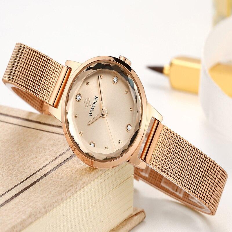 WWOOR Brand Luxury Diamond Women Watch Casual Rose Gold Stainless Steel Ladies Quartz Watches Waterproof Wrist Watch Reloj Mujer enlarge