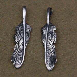 Takahashi Kagura Goro's Thai Silver Feather Pendant Left And Right Retro Handmade Creative Men And Women Necklace Pendant