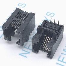 Prise téléphonique RJ11 90 degrés 6pin   10 pièces/lot, prise de courant RJ12 téléphone