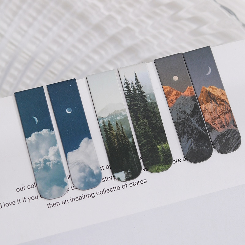 MOHAMM 2 PCS Misty Fantasy Clouds Sea Forest Landscape Magnetic Bookmark for Pages Books Readers