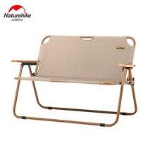 Naturerandonnée loisirs de plein air Double chaise pliante Portable ultra-léger Camping pique-nique chaise de plage 2 personnes Grain de bois sieste chaise