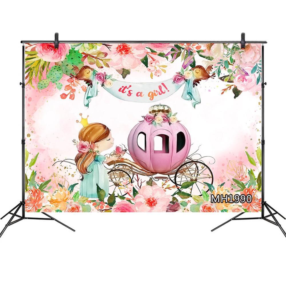 Фон для фотосъемки новорожденных с изображением слона и цветов, Вечерние Декорации для фотосъемки на день рождения
