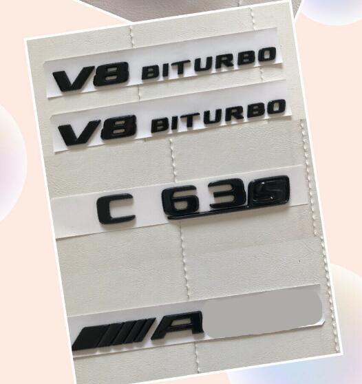 Gloss preto c63s para amg v8 biturbo adesivo decalque emblema pacote para w205 c63s