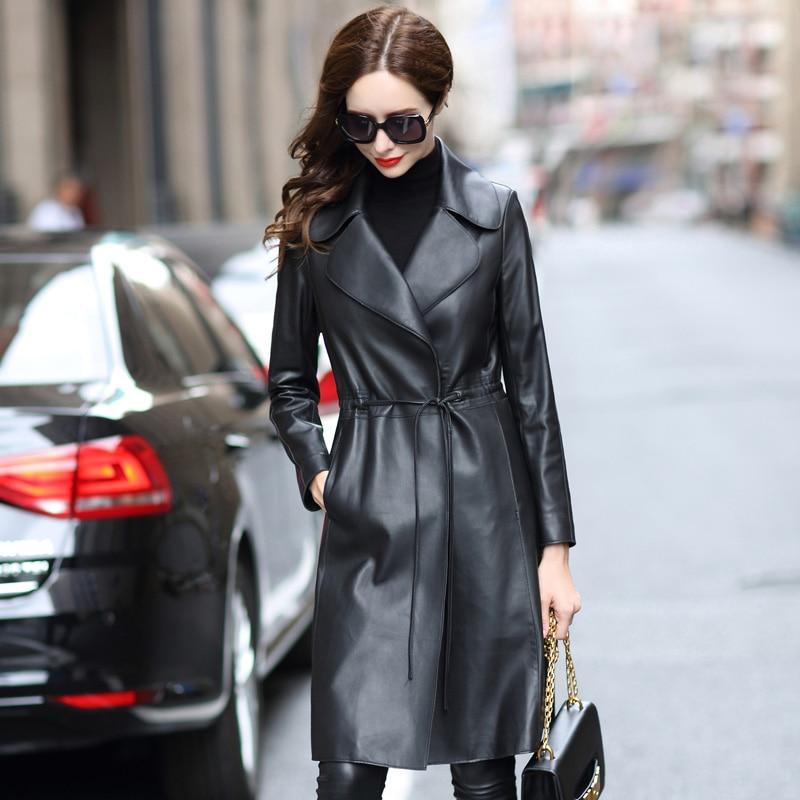 Lautaro longo preto falso couro trench coat feminino manga longa plus size jaquetas de couro para mulher 2020 primavera roupas das mulheres 7xl