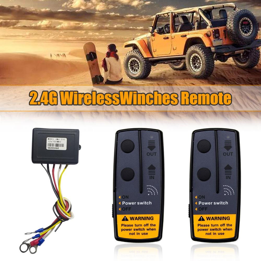 4000lbs electric recovery winch kit atv trailer truck car dc12v remote control winches recovery winch set with 12v battery 2.4G 12V Car Wireless Winch Electric Remote Control With Receiver Recovery Kit For Truck ATV SUV Truck Vehicle Trailer
