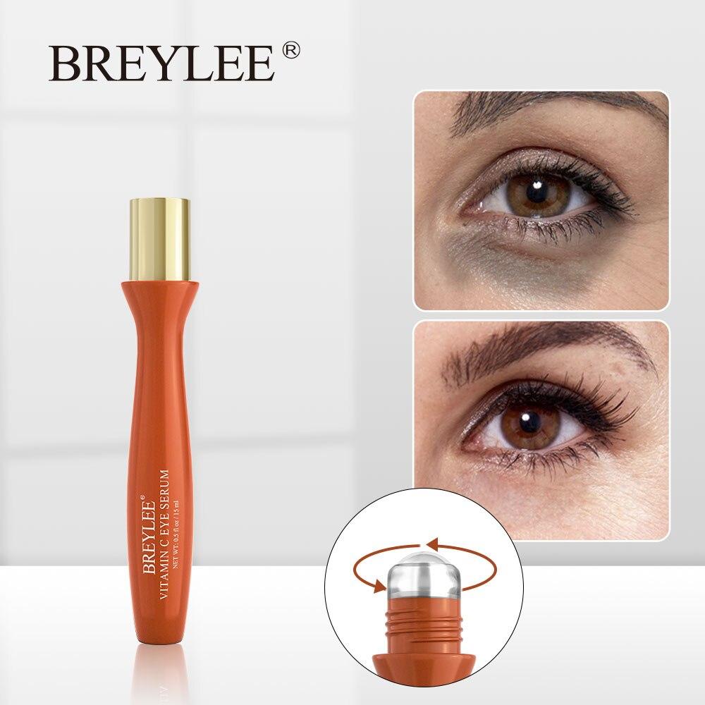 Breylee olho soro vitamina c olho rolo massagem clareamento remover manchas escuras sardas melanina anti-oxidação hidratante cuidados com a pele