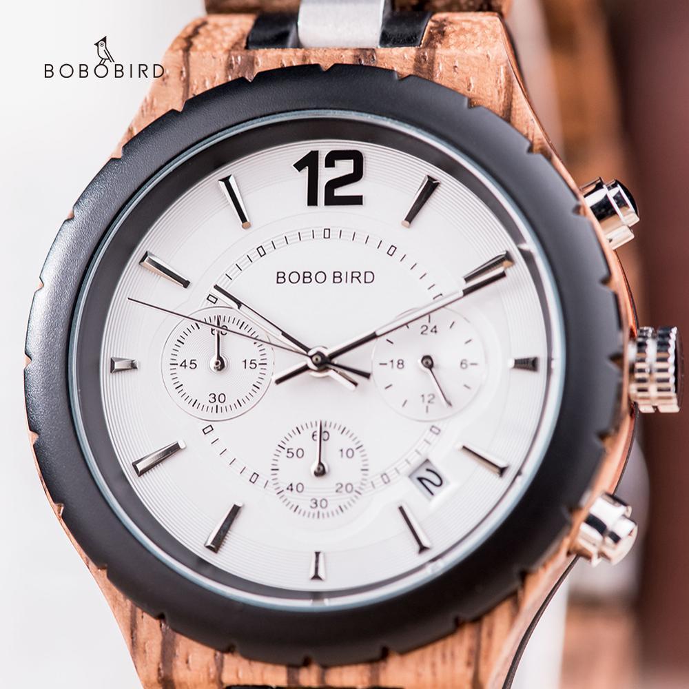 BOBO BIRD-ساعة يد خشبية للرجال ، ساعة عسكرية ، تاريخ كوارتز ، كرونوغراف خشبي فاخر ، هدية الكريسماس