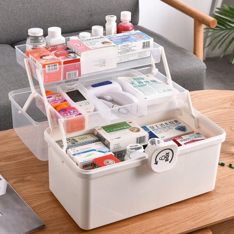 حار المحمولة الإسعافات الأولية 3-Layer البلاستيك متعددة الوظائف طوي المنزلية سعة كبيرة الطب أشتات صندوق تخزين