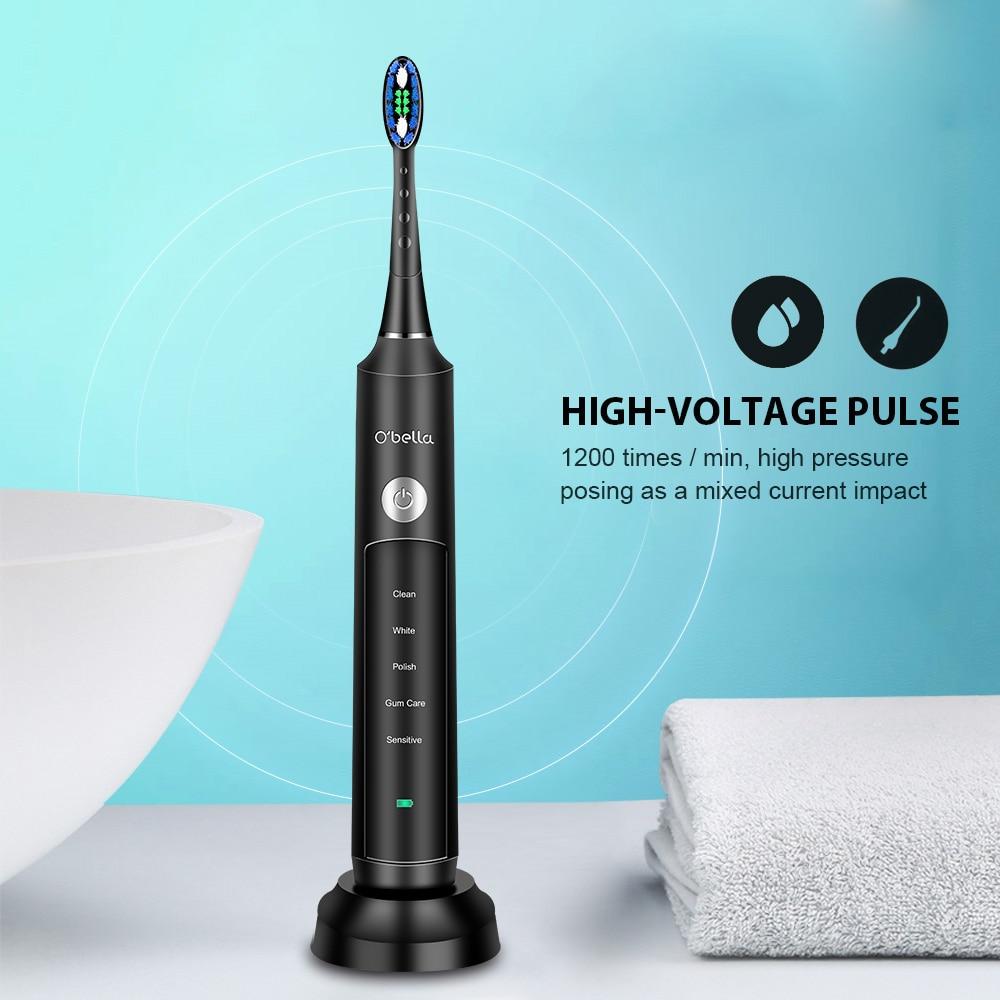 48000RP O'BELLA 071B звуковая электрическая зубная щетка, перезаряжаемые щетки для взрослых с 4 сменными насадками DuPont, подарок, бесплатная доставка