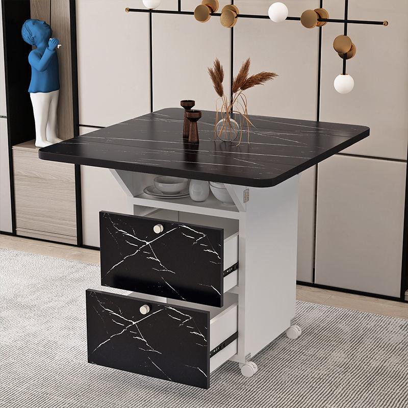 الحديثة الفاخرة للطي طاولات الطعام متعددة الوظائف تخزين الجدول تقليد الرخام الملمس المطبخ الإفطار الجدول طاولة قابلة للطي