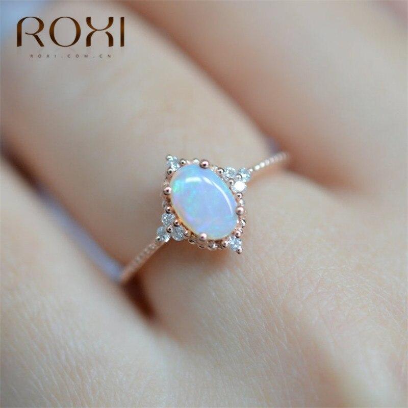 ROXI Anillos de ópalo de fuego blanco ovalado para mujer, joyería de moda Vintage, anillo de piedra natal, alianzas de boda, Anillos de zirconia CZ, Anillos para dedo