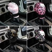 1pc car gear shift knobs cover case kitty cat auto gear shift cover pu leather car gear shift knob shift cover car accessories