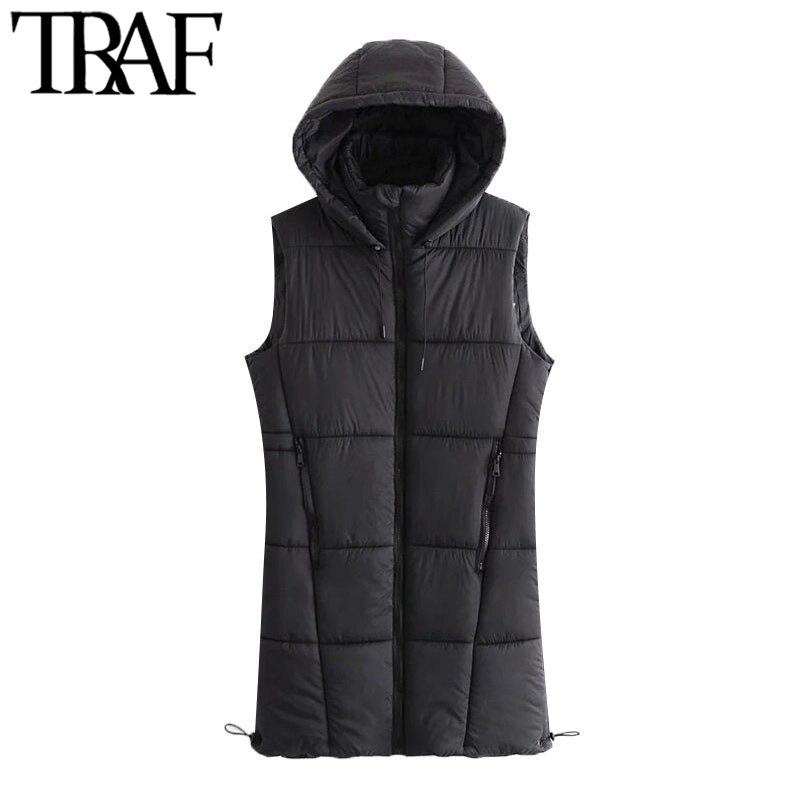TRAF-سترة نسائية مبطنة برباط ، سترة عتيقة مع ياقة عالية ، سترة بغطاء للرأس وسحاب ، ملابس خارجية