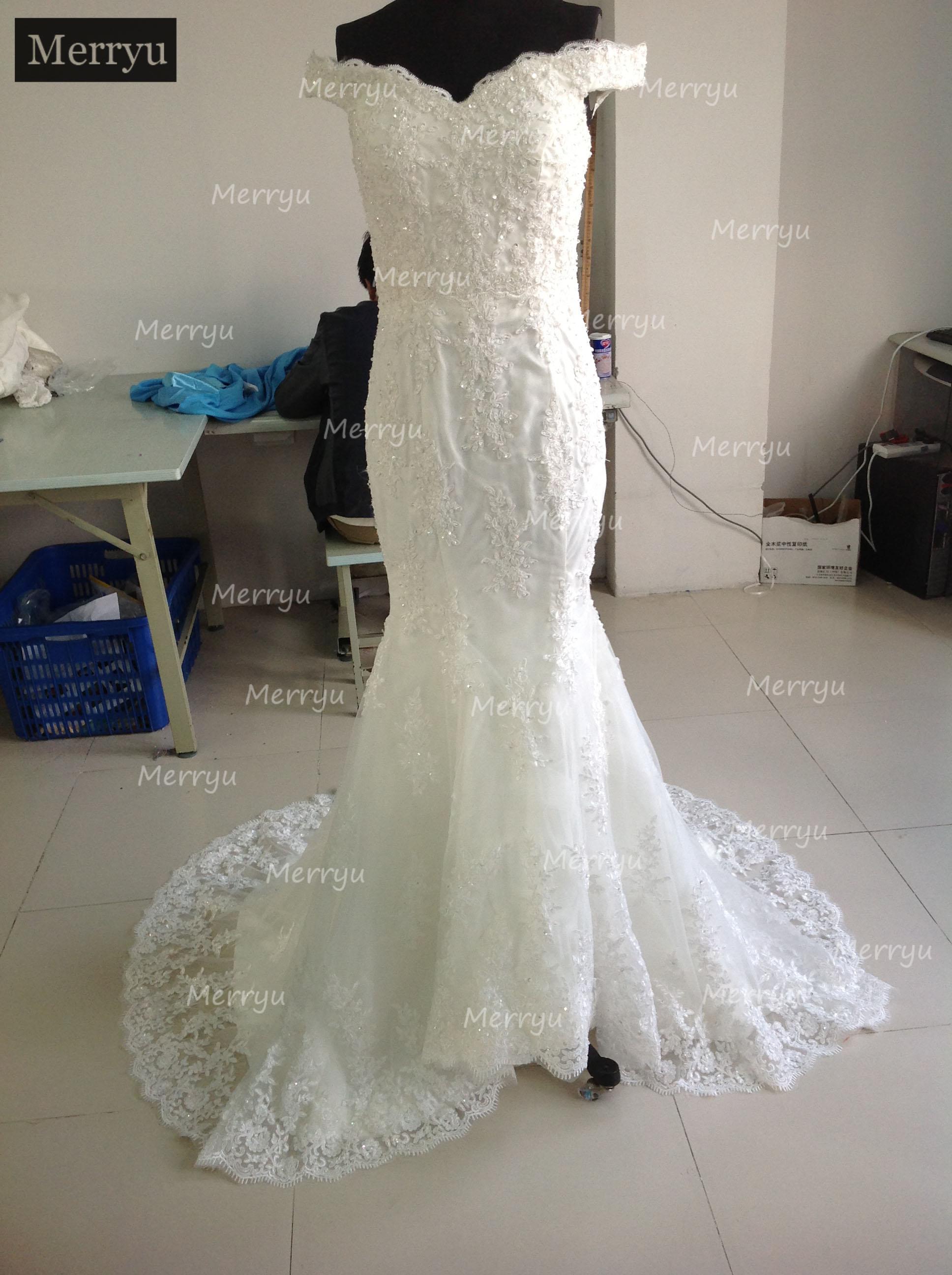 На заказ Кружева Русалка Свадебные платья Аппликация на свадебные платья vestidos de novia Свадебные платья с бисером