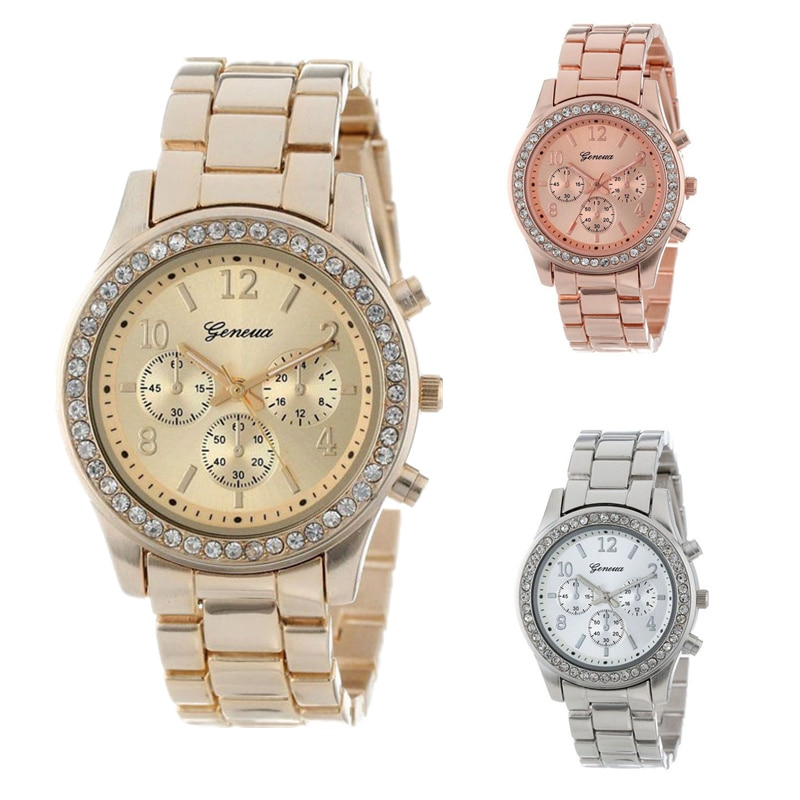 new geneva classic luxury rhinestone watch women watches fashion ladies women clock Reloj Mujer Relo
