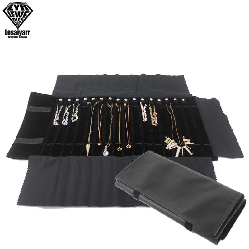 Fashion Black Velvet/PU Leather Jewelry Roll Bag Pendant Bracelet Organizer Storage Pouch Portable Necklace Display Travel Cases decompression anion pu leather non allergy bracelet silver black coppery
