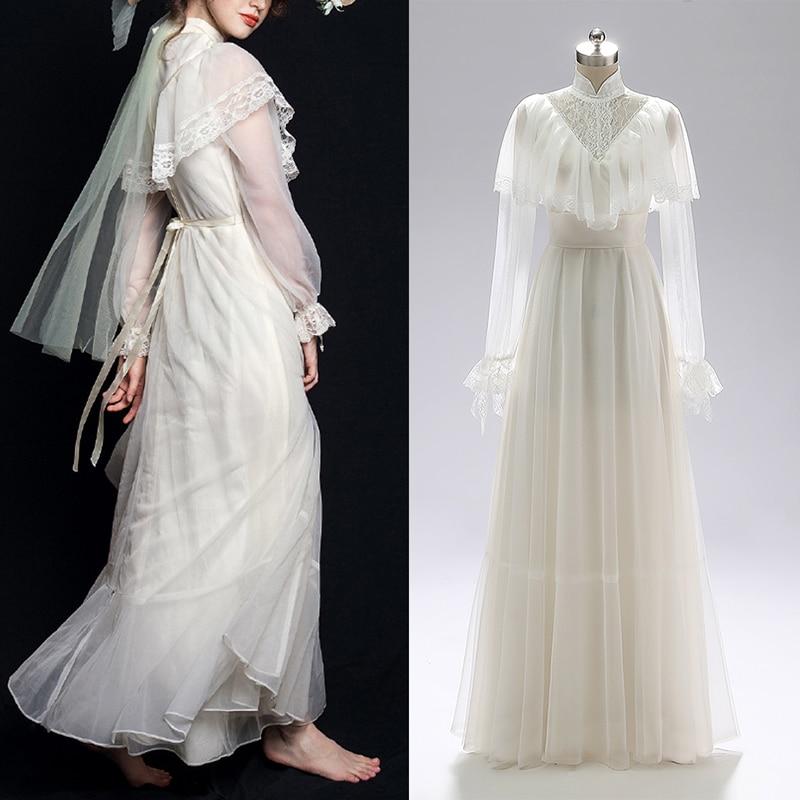 Victorian Retro Simple Tulle Lace Bridal Gown Wedding Party Dress Retro Vintage Bridesmaid Gown Real Photo Custom Made #3006