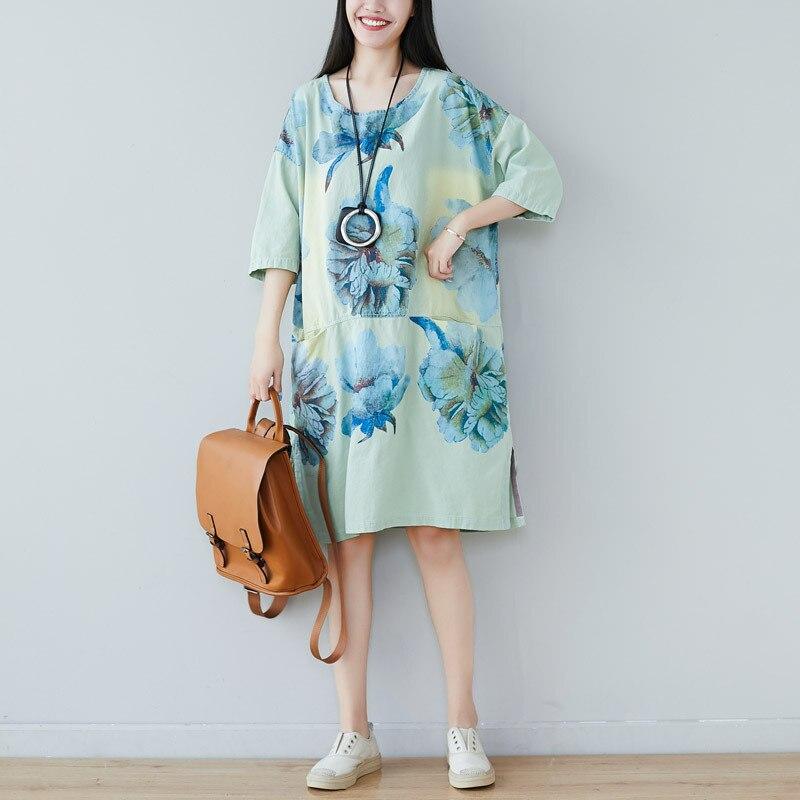 Max LuLu Korean Fashion Style Clothes Ladies Floral Printed Vestidos Womens Loose O-Neck Dress Vintage Casual Dresses Plus Size