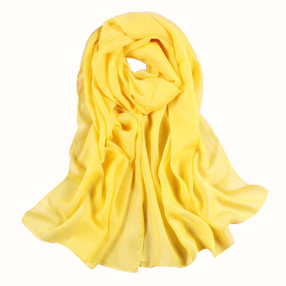 25 # cachecol feminino amarelo longo macio fino envoltório senhora xale chiffon scarfs cor sólida praia cachecóis para meninas e feminino