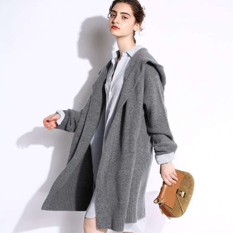2020 Autumn Winter Women's Cashmere Knitted Cardigans Thickened Hooded Knitting Jacket Coats V Neck Plus Size Sweater Overcoats enlarge