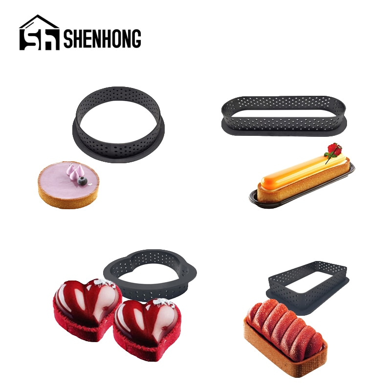 Anillo de pastel de 5 estilos de SHENHONG, tartas de huevo perforadas de plástico, herramientas para hornear cocina, molde de postre francés, moldes de espuma de fruta, moldes de repostería