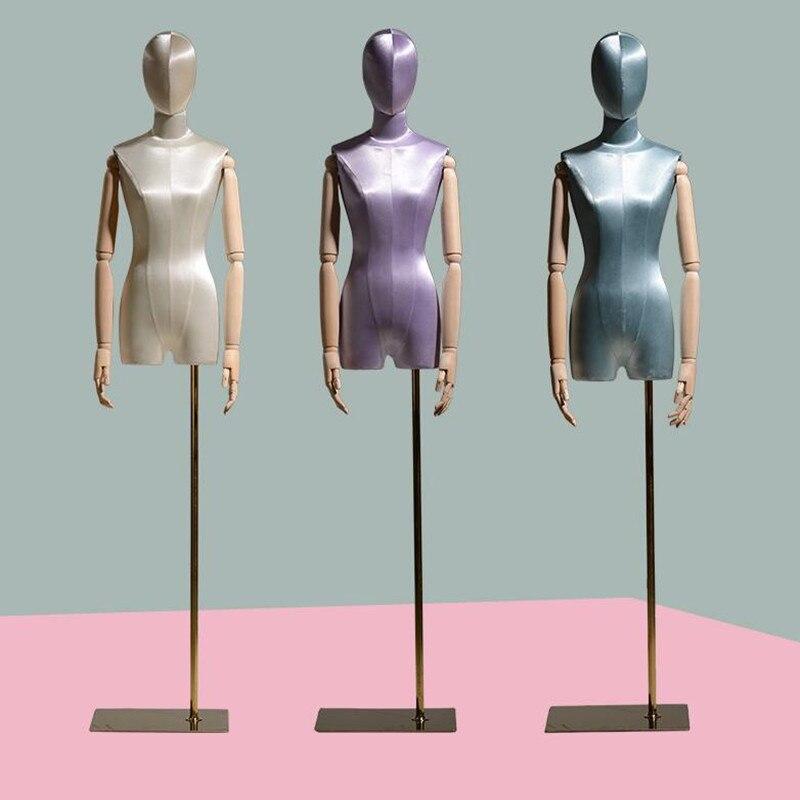 Janela de Seda Estilo Feminino Manequim Corpo Estande Vestido Madeira Mão Flexível Cremalheira Ajustável Boneca 1pc D316 4 Cor