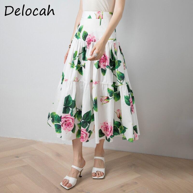 Delocah verão moda feminina designer grande swing a-line saia de cintura alta rosa floral impressão feminina alta qualidade saias algodão