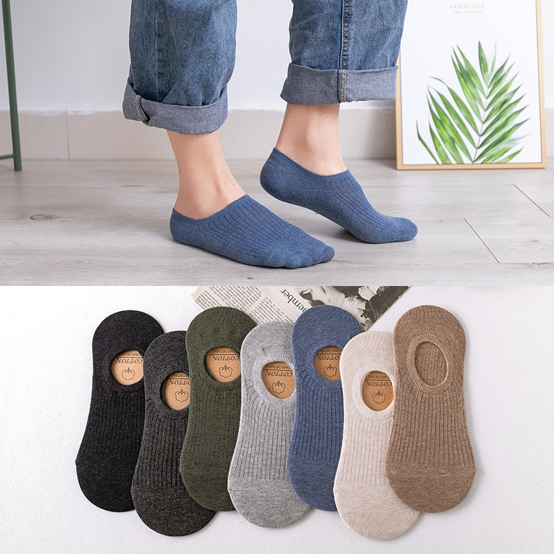 10 Pairs Solid Color Socks Men's Summer Shallow Mouth Invisible Boat Socks Casual Cotton Ventilation Silicone Antiskid Adult Sox