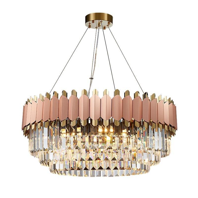 Lámpara de lujo moderna rose gold club duplex villa diseño modelo sala de estar redonda cristal LED lámpara de decoración de boda
