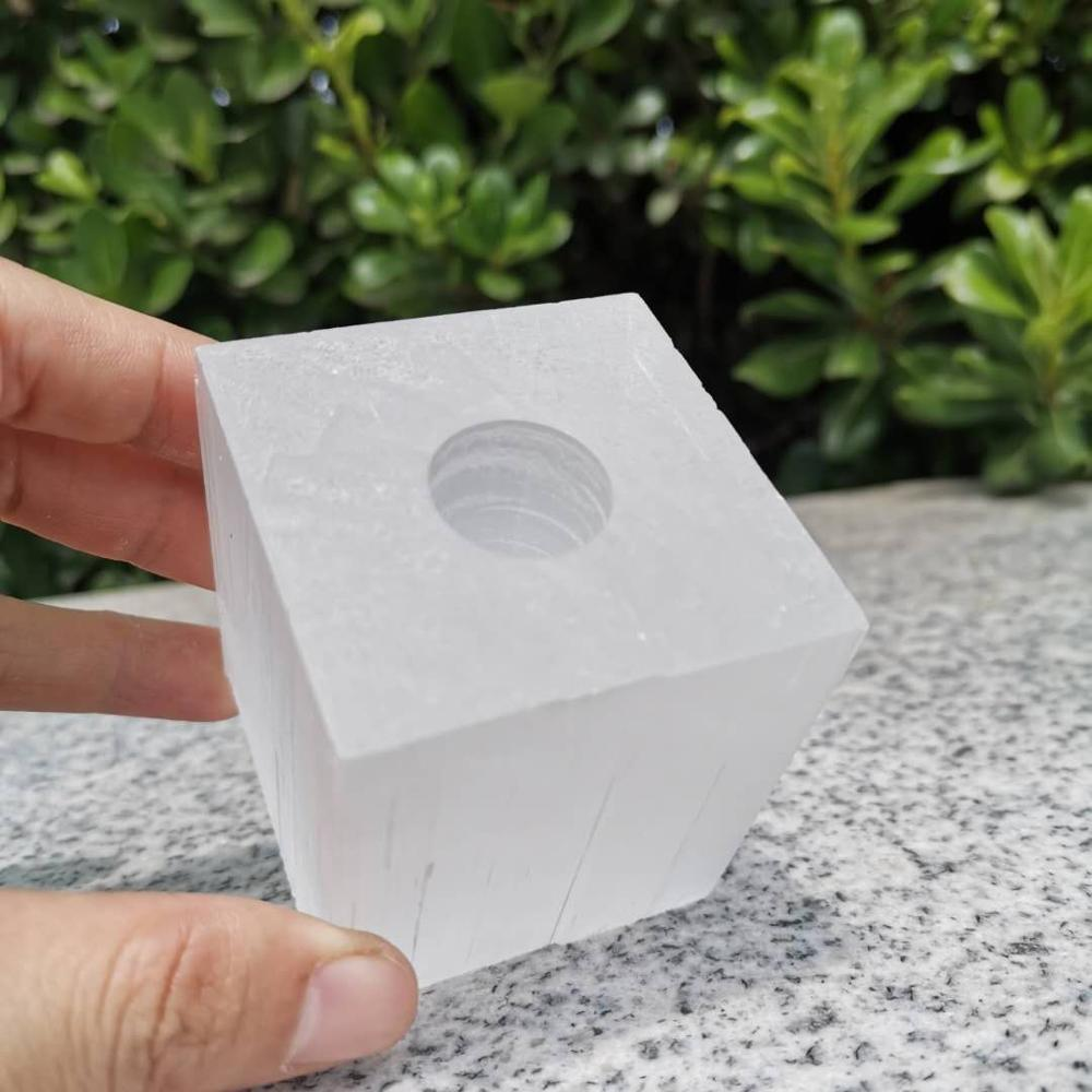 Natural branco selenita vela titular cubo artesanal lâmpada de cristal artesanato decoração para casa