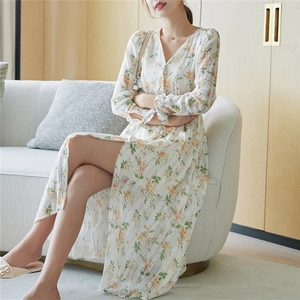 2020 autumn new dress female simple temperament long dress long sleeve floral over-the-knee fairy dress fashionable sexy S - XL