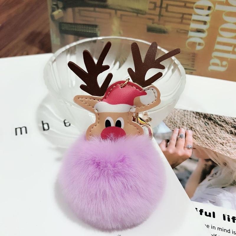 Peluche Elk colgantes llavero pompón Reno piel bola muñeca llavero adornos de Navidad Fiesta favores Navidad Año Nuevo regalos