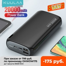 KUULAA Power Bank 20000mAh Portable Charging Poverbank Mobile Phone External Battery Charger Powerba