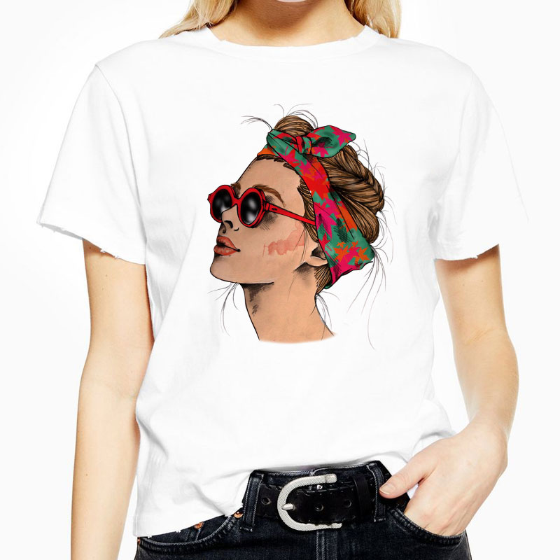 Primavera Verano mujer Camiseta de manga corta nueva moda chicas imprimir camiseta Tops cuello redondo ajustado de algodón suave poliéster camiseta Femme