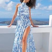 2021 summer new womens waist waist sleeveless long dress hollow printed split dress