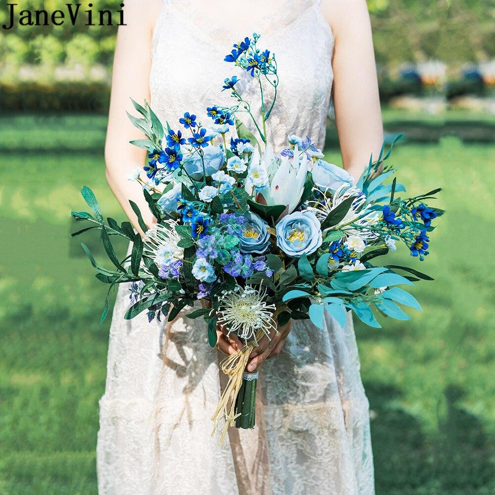 JaneVini-باقة ورود من الحرير الصناعي للعروس ، باقة زهور زرقاء من فلور بلو رامو دي نوفيا ، عتيق ، 2021