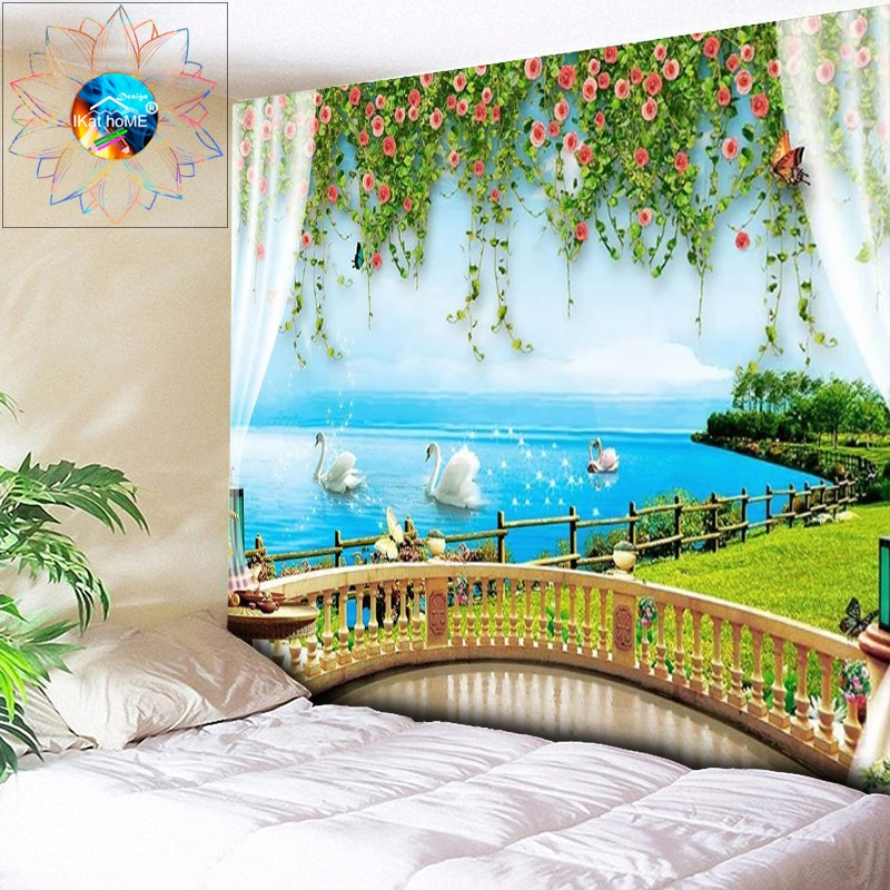Psychedelic Tapestry Flowers Boho Decor Mandala Wall Hanging Hippie Wall Tapestry Outside the Window Sea Bedroom Dorm Wall Art