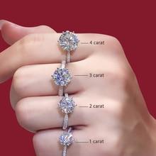 925 Sterling Zilver Moissanite Ring Klassieke Stijl Ronde Cut Ring Enkele Rij Diamanten Engagement Anniversary Ring 1ct 2ct 3ct