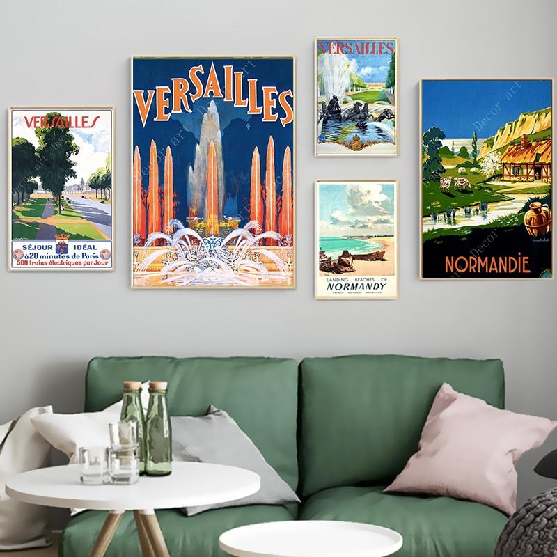 Франция Нормандия Версаль путешествия холст картины старинные картины крафт плакаты с покрытием наклейки на стену украшение дома подарок