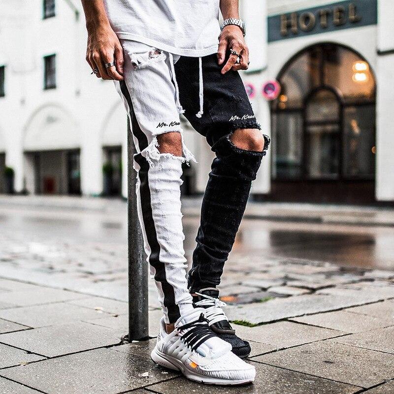 ASRV-pantalones Vaqueros de retales para Hombre, Jeans rasgados con cremallera para los...