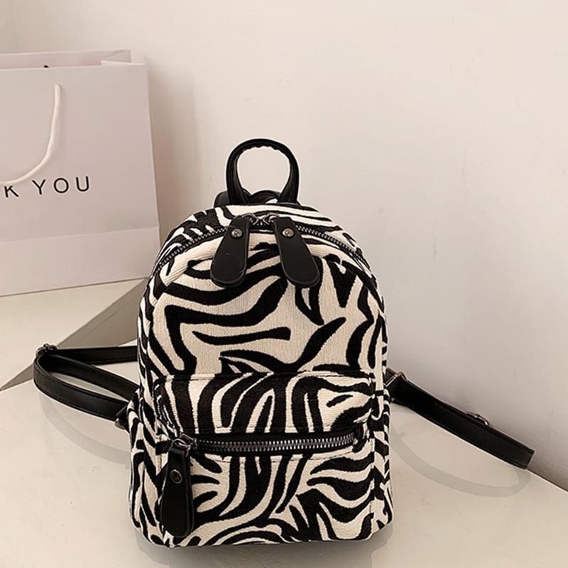 Padrão para Mulheres Mochila de Lona do Vintage Veludo Zebra Mochila Mini Feminino Inverno Quente Daypack Viagem Volta Bolsa