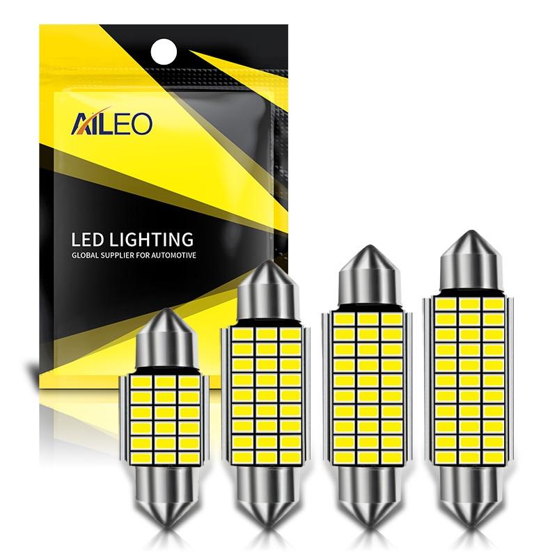 AILEO 1x C10W C5W LED Canbus Festoon 31mm 36mm 39mm 42mm for car Bulb Interior Reading Light License Plate Lamp White Free Error