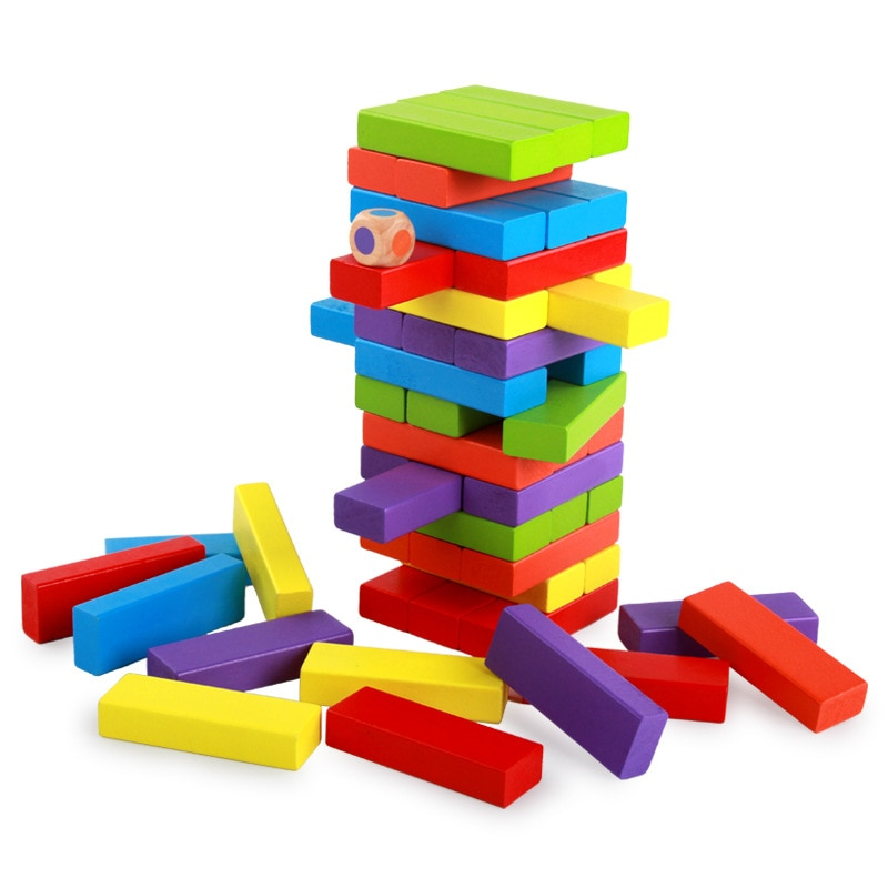 Mini jenga de madera juguete de bloques de construcción juego mental niños partido Balance juegos bloque de dominó de madera niños juguete educativo Montessori