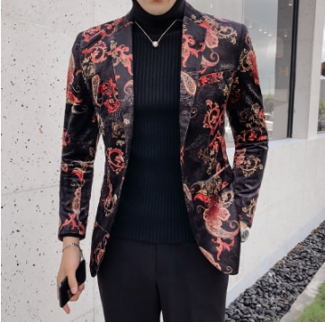 2020 Luxury Royal Paisley Floral Blazer Slim FitWedding Party Prom Blazer Flower Men Pattern Velvet Suit Jacket Business