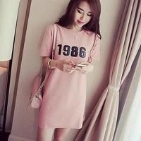 women summer long short sleeve long casual tops number printed cotton slim loose t shirt