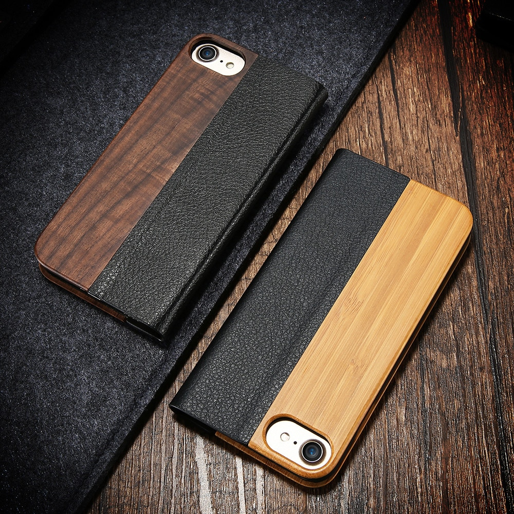 10pcs / lot Flip Genuine Wood Case For iPhone 12 11 Pro Max Cases Bamboo Wallet Leather Case For iPhone XR XS Max 8 7 Plus Cover